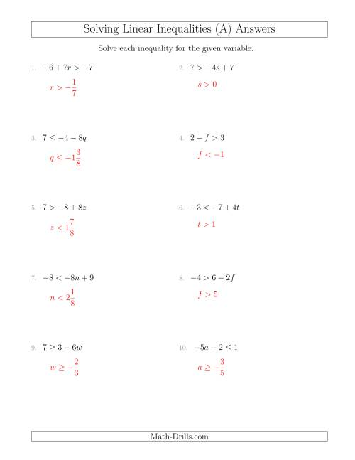 The Solving Linear Inequalities Including a Third Term and Multiplication (A) Math Worksheet Page 2
