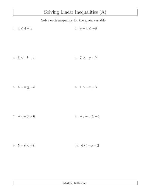 The Solving Linear Inequalities Including a Third Term (A) Math Worksheet