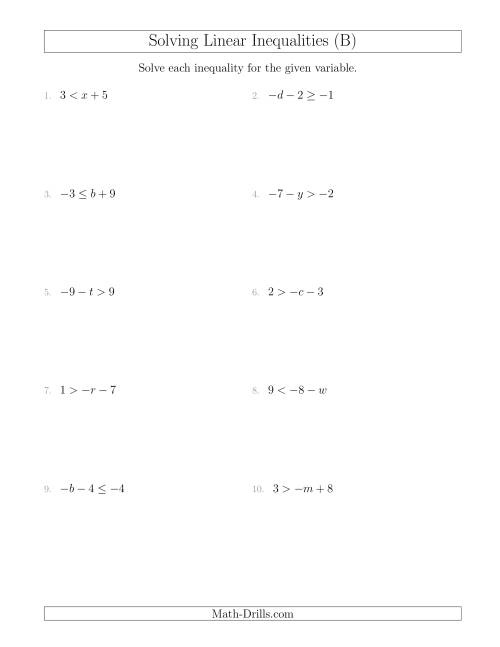 The Solving Linear Inequalities Including a Third Term (B) Math Worksheet