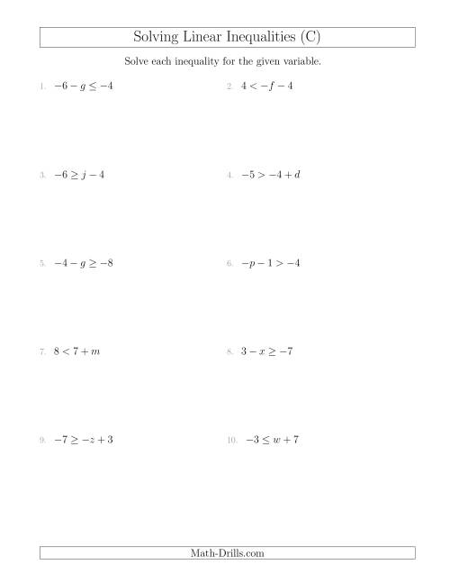 The Solving Linear Inequalities Including a Third Term (C) Math Worksheet