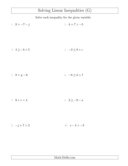 The Solving Linear Inequalities Including a Third Term (G) Math Worksheet