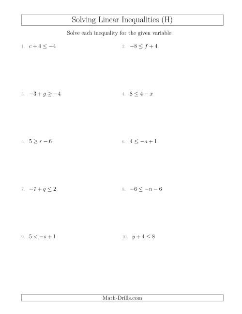 The Solving Linear Inequalities Including a Third Term (H) Math Worksheet