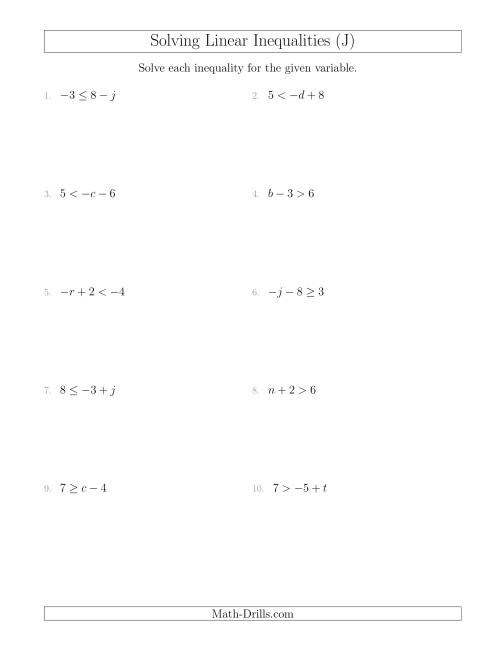 The Solving Linear Inequalities Including a Third Term (J) Math Worksheet