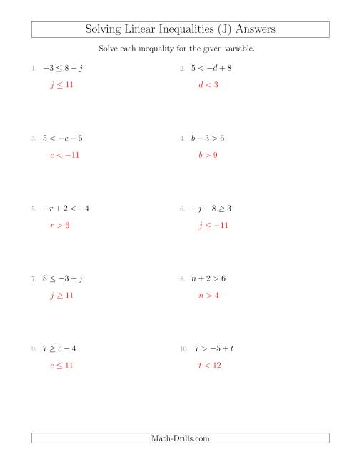 The Solving Linear Inequalities Including a Third Term (J) Math Worksheet Page 2