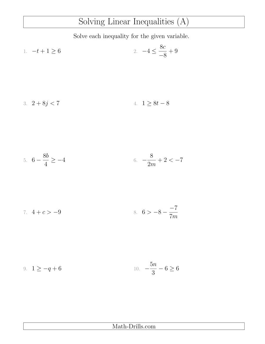 The Solving Linear Inequalities Mixed Questions (A) Algebra Worksheet