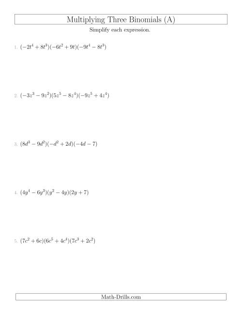 The Multiplying Three Binomials (A) Math Worksheet