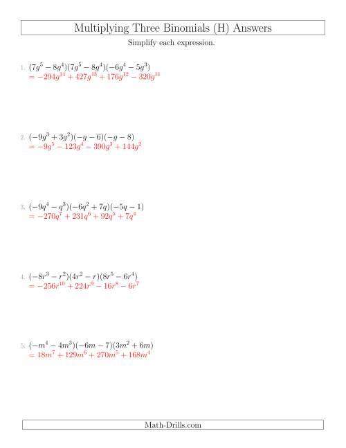 Multiplying Three Binomials H