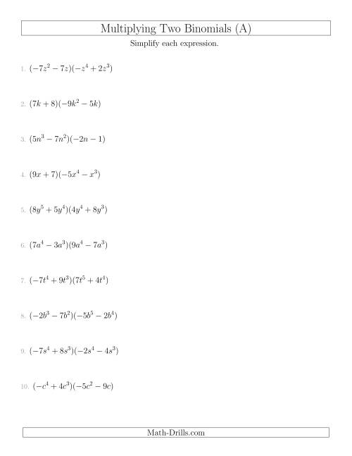 Multiplying Two Binomials (A) Algebra Worksheet