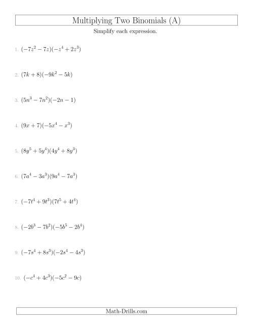Binomial Theorem Precalculus Worksheet On Simplifying
