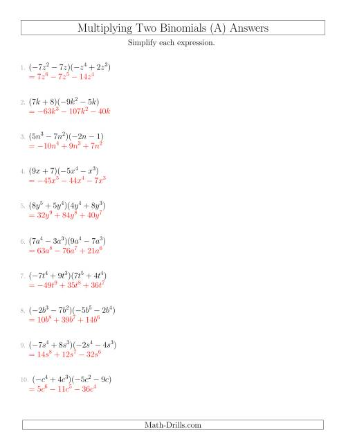 - Multiplying Two Binomials (A)