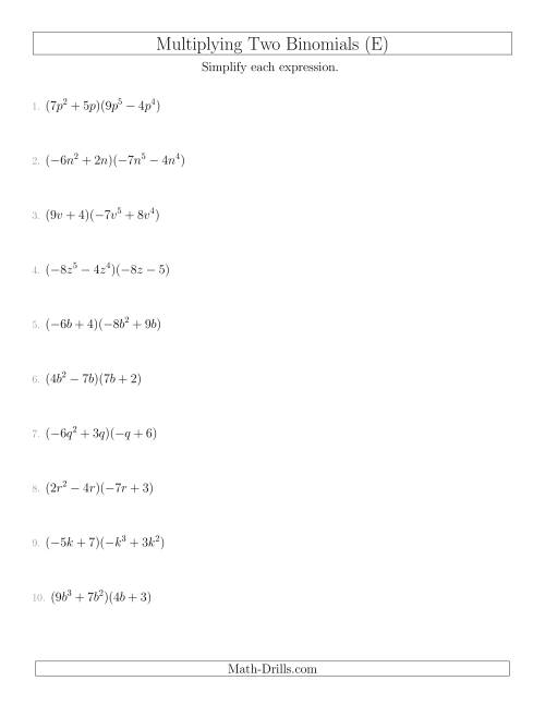 The Multiplying Two Binomials (E) Math Worksheet