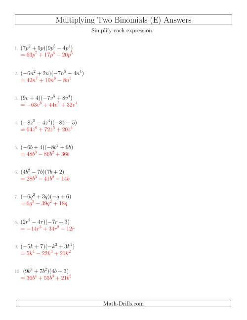 The Multiplying Two Binomials (E) Math Worksheet Page 2