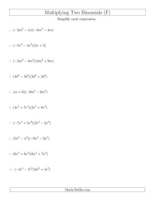 The Multiplying Two Binomials (F) Math Worksheet