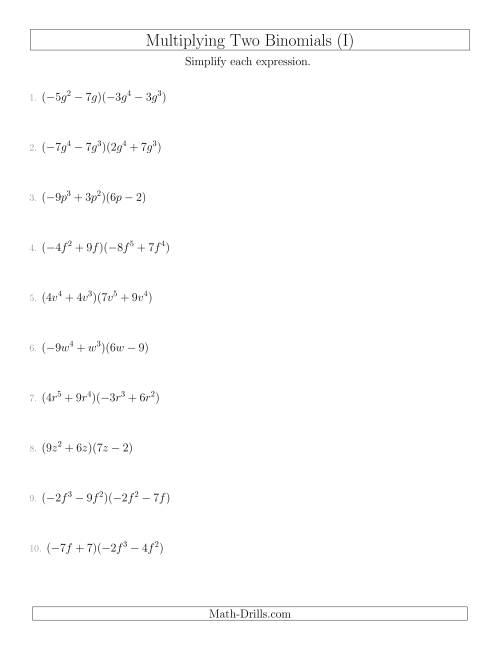 The Multiplying Two Binomials (I) Math Worksheet