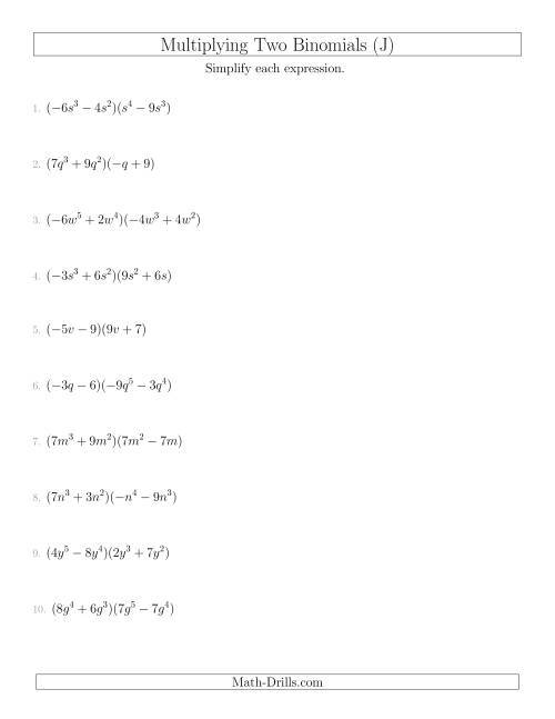 The Multiplying Two Binomials (J) Math Worksheet