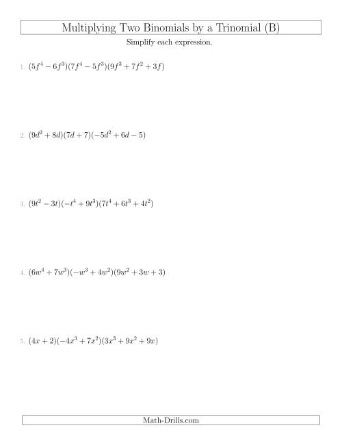 The Multiplying Two Binomials by a Trinomial (B) Math Worksheet