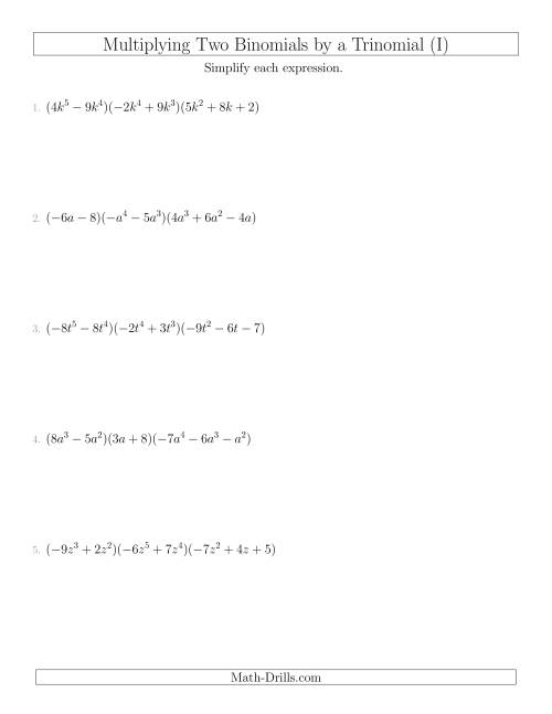 The Multiplying Two Binomials by a Trinomial (I) Math Worksheet