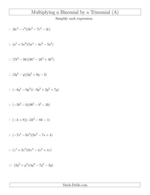 The Multiplying a Binomial by a Trinomial (A) Algebra Worksheet