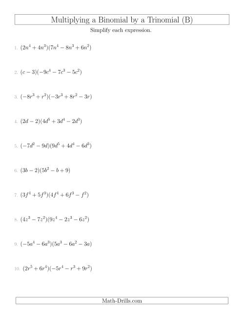 The Multiplying a Binomial by a Trinomial (B) Math Worksheet