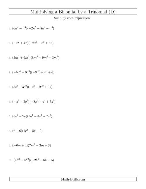 The Multiplying a Binomial by a Trinomial (D) Math Worksheet