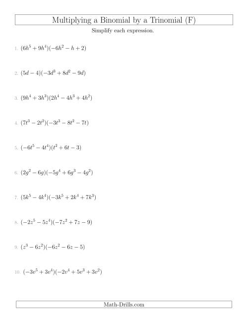 The Multiplying a Binomial by a Trinomial (F) Math Worksheet