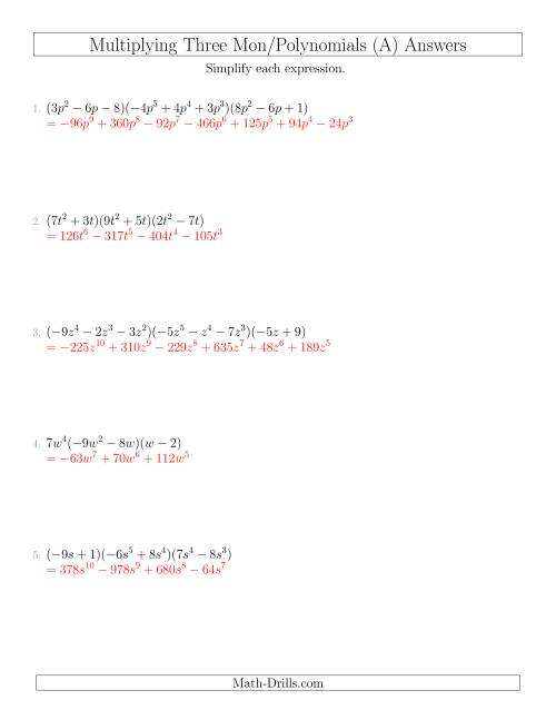 - Multiplying Monomials And Polynomials With Three Factors (A)