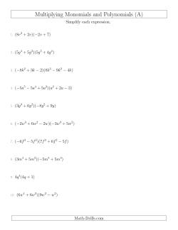 Multiplying Monomials and Polynomials with Two Factors Mixed Questions (A)
