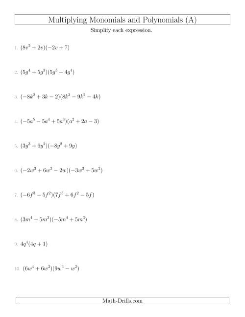 The Multiplying Monomials and Polynomials with Two Factors Mixed Questions (A) Math Worksheet