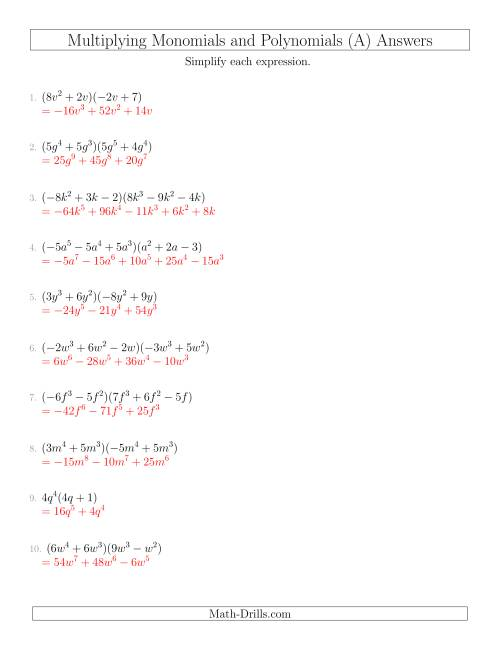 Multiplying Monomials and Polynomials with Two Factors ...