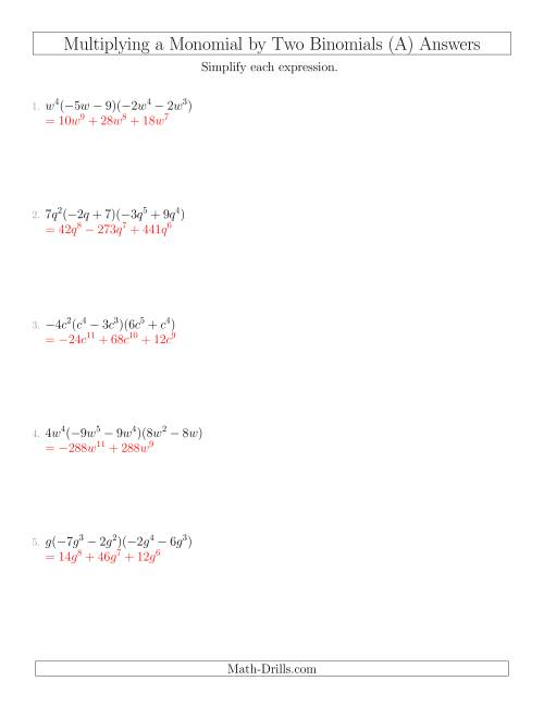 The Multiplying a Monomial by Two Binomials (A) Math Worksheet Page 2