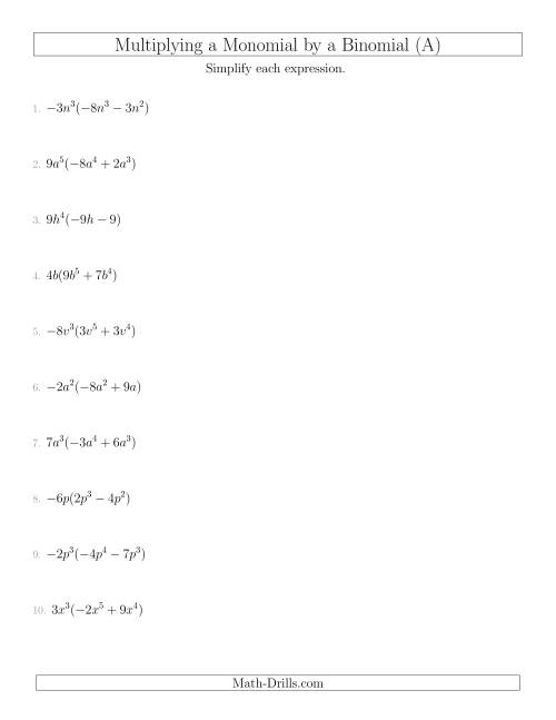 Printables Multiplying Binomials Worksheet multiplying a monomial by binomial algebra worksheet the worksheet