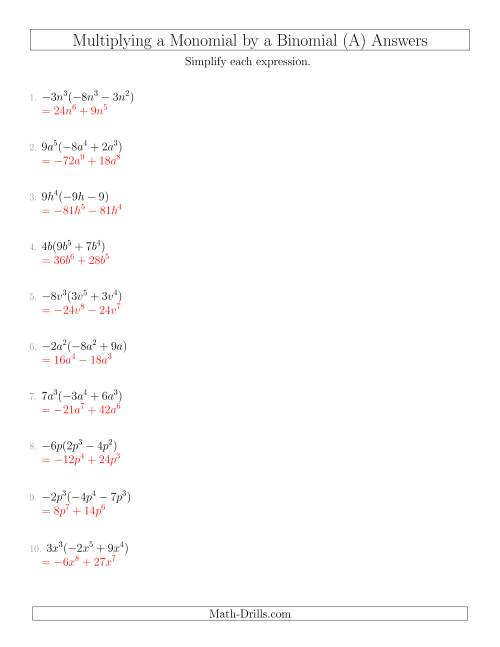 The Multiplying a Monomial by a Binomial (All) Math Worksheet Page 2