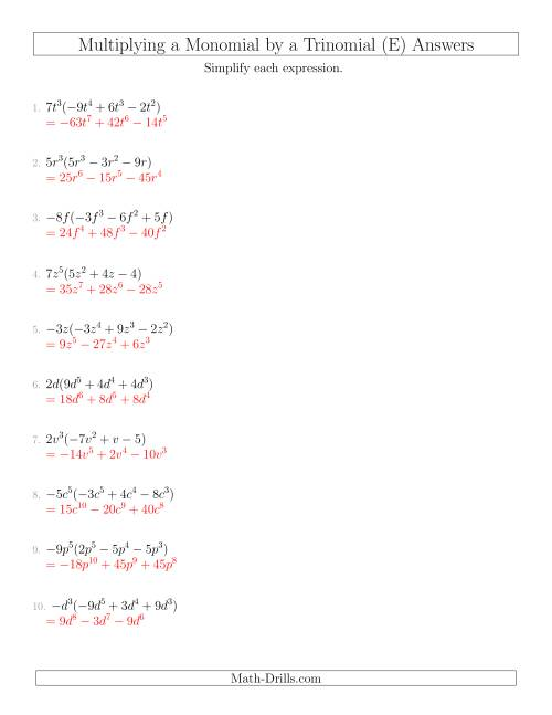 The Multiplying a Monomial by a Trinomial (E) Math Worksheet Page 2