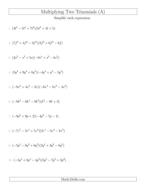 The Multiplying Two Trinomials (A) Algebra Worksheet