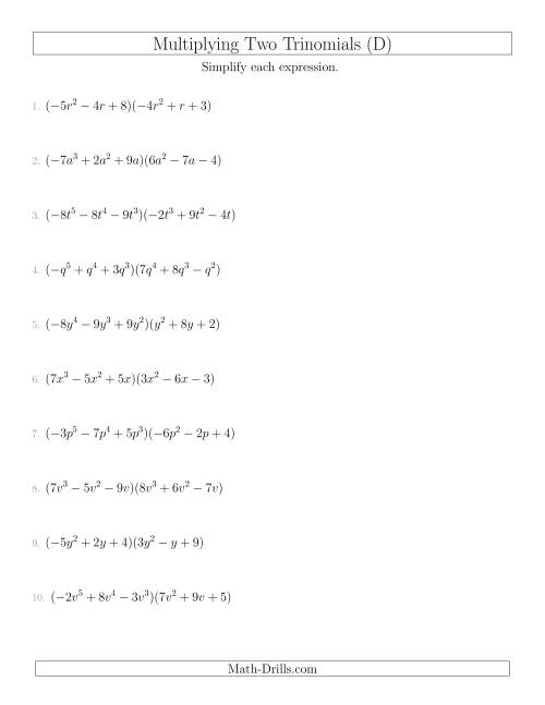 The Multiplying Two Trinomials (D) Math Worksheet