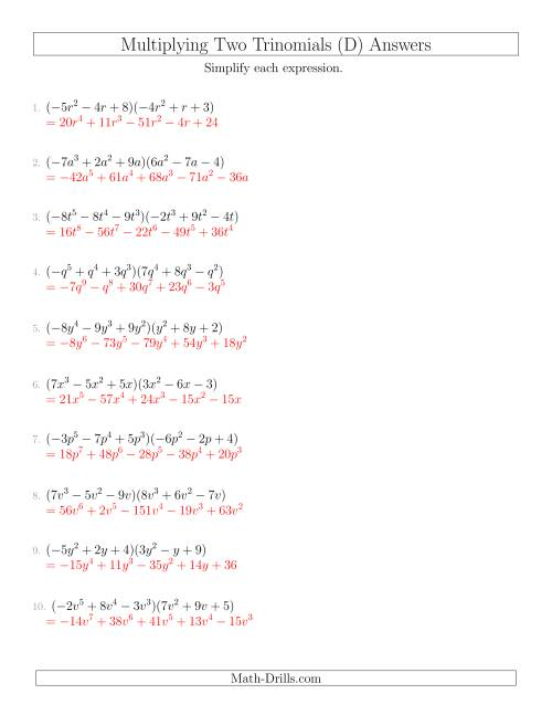 The Multiplying Two Trinomials (D) Math Worksheet Page 2