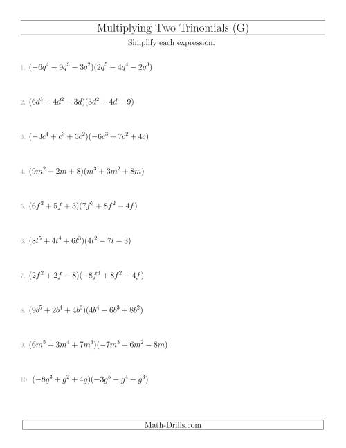 The Multiplying Two Trinomials (G) Math Worksheet