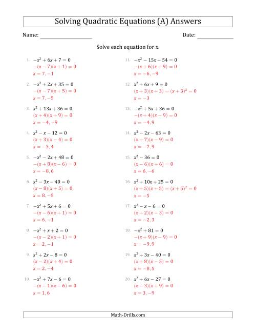 The Solving Quadratic Equations with Positive or Negative 'a' Coefficients of 1 (A) Math Worksheet Page 2