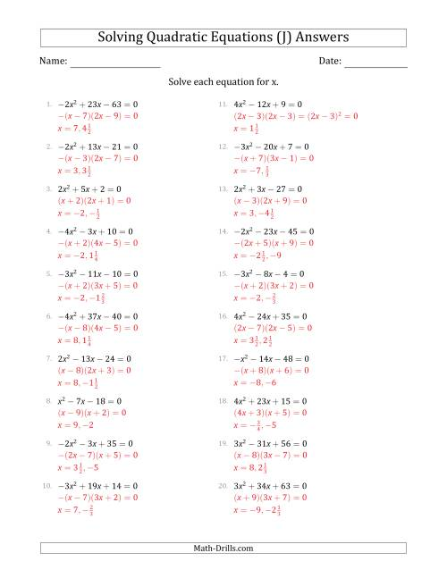 The Solving Quadratic Equations with Positive or Negative 'a' Coefficients up to 4 (J) Math Worksheet Page 2
