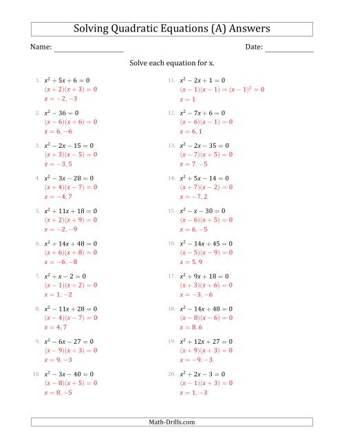 The Solving Quadratic Equations for x with 'a' Coefficients of 1 (Equations equal 0) (A) Math Worksheet Page 2