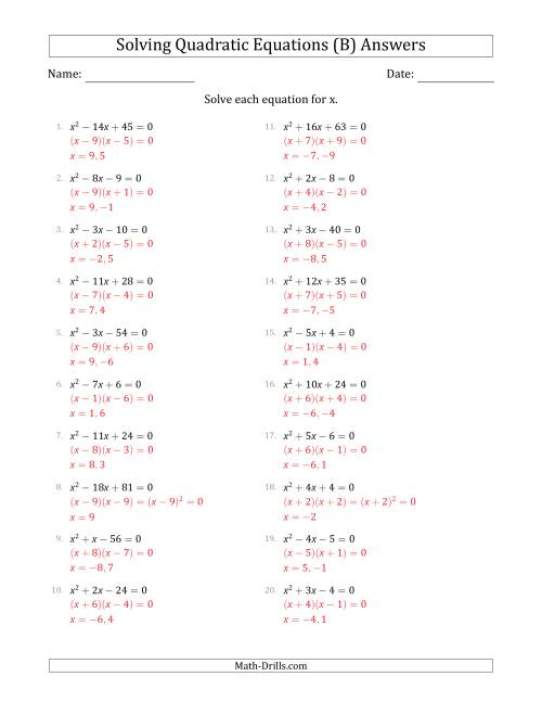 The Solving Quadratic Equations with Positive 'a' Coefficients of 1 (B) Math Worksheet Page 2