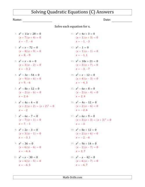 The Solving Quadratic Equations with Positive 'a' Coefficients of 1 (C) Math Worksheet Page 2