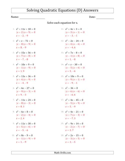 The Solving Quadratic Equations with Positive 'a' Coefficients of 1 (D) Math Worksheet Page 2