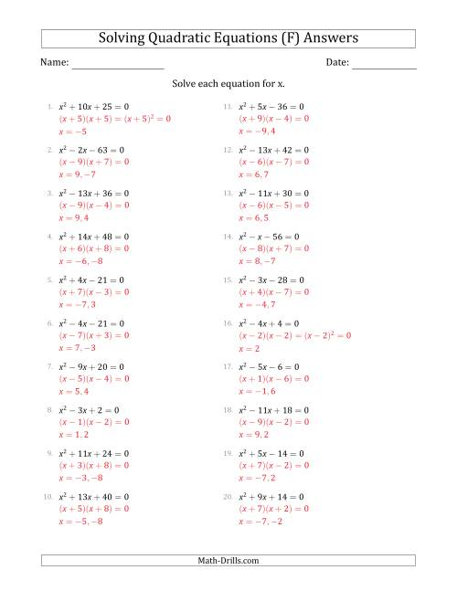 The Solving Quadratic Equations with Positive 'a' Coefficients of 1 (F) Math Worksheet Page 2