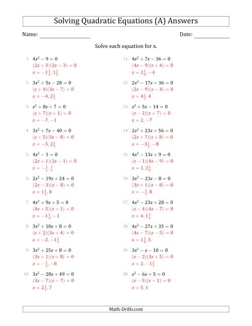 The Solving Quadratic Equations for x with 'a' Coefficients  up to 4 (Equations equal 0) (A) Math Worksheet Page 2