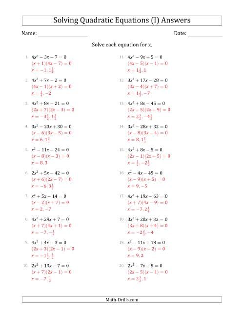 The Solving Quadratic Equations for x with 'a' Coefficients  up to 4 (Equations equal 0) (I) Math Worksheet Page 2