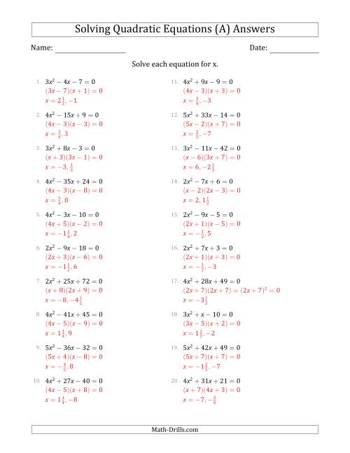 The Solving Quadratic Equations with Positive 'a' Coefficients up to 5 (A) Math Worksheet Page 2
