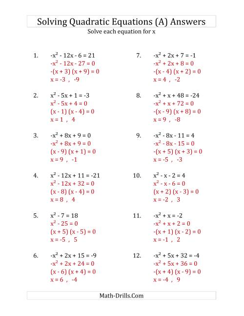 The Solving Quadratic Equations for x with 'a' Coefficients of 1 or -1 (Equations equal an integer) (A) Math Worksheet Page 2