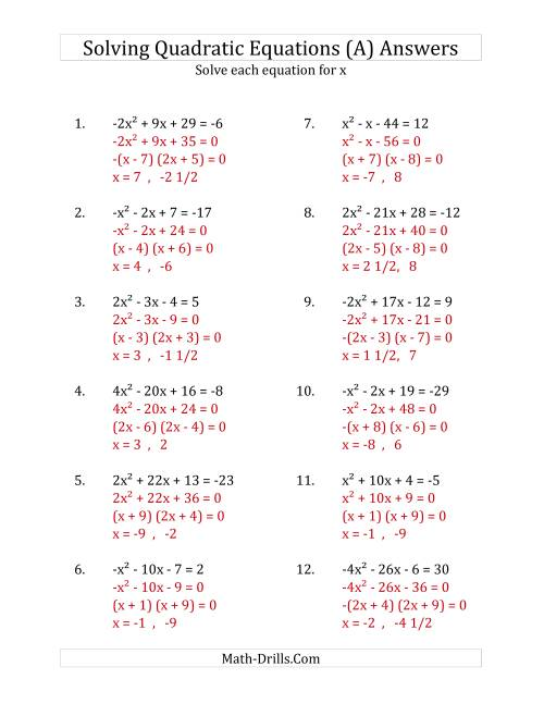 worksheet. Solving Using The Quadratic Formula Worksheet. Grass ...