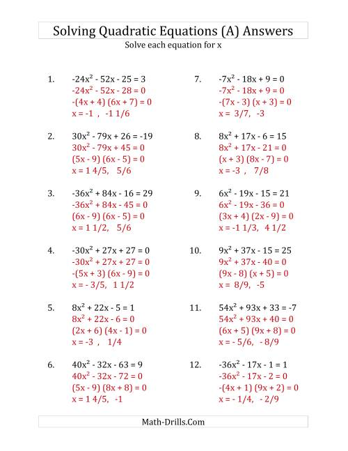 The Solving Quadratic Equations for x with 'a' Coefficients Between -81 and 81 (Equations equal an integer) (A) Math Worksheet Page 2
